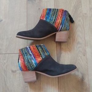 Toms Leila Suede Multi Textile Ankle Booties